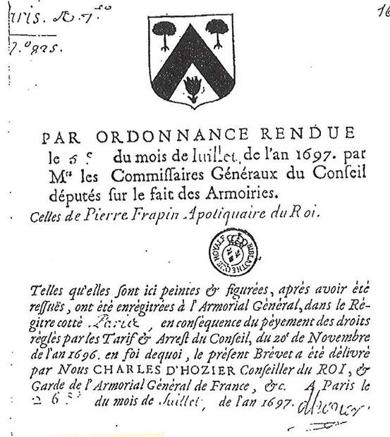 histoire 1697 Création du blason familial Frapin